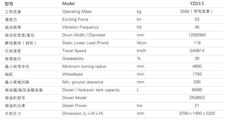 YZD3.5单钢轮震动压路机参数