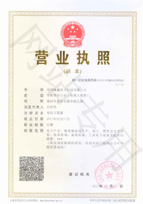 郑州嵩鑫电子科技有限公司营业执照