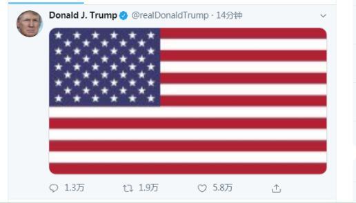 特朗普更新推特:内容仅美国国旗无任何文字