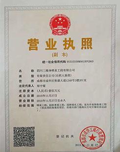 四川三维体喷泉工程有限公司营业执照