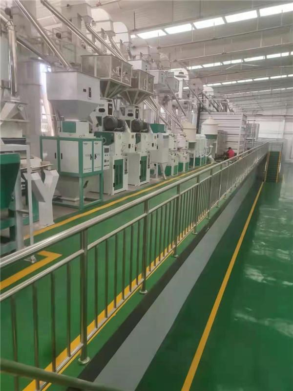 客户参观碾米机设备的生产过程