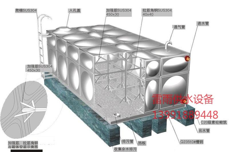 西安组合式不锈钢水箱效果图