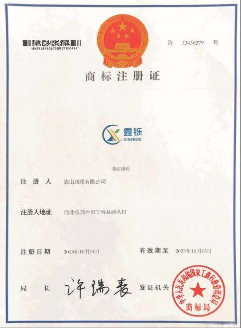 鑫铄商标注册证书