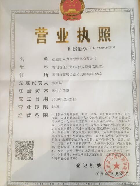 襄阳劳务外包营业执照
