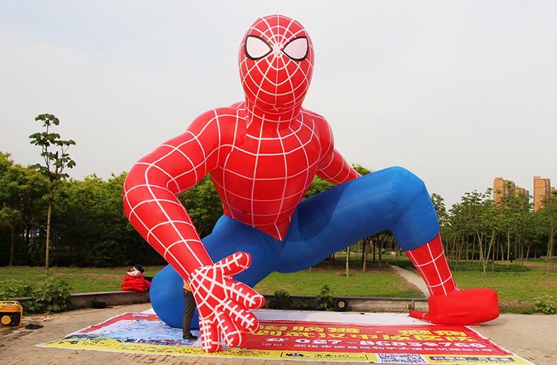 充气蹲式蜘蛛侠气模_卡通广告气模