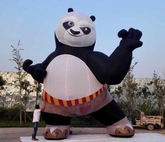 功夫熊猫卡通气模_充气熊猫气模厂家