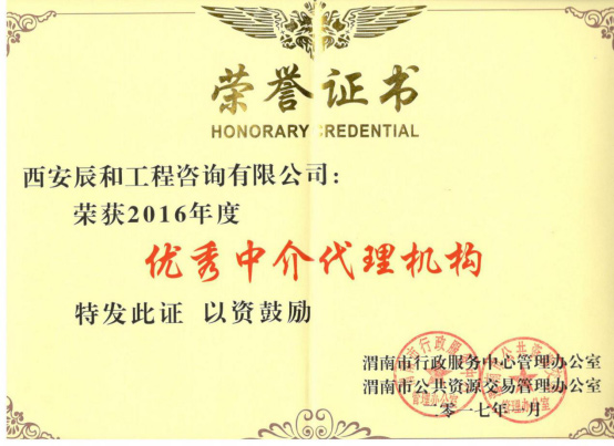 优秀中介代理机构荣誉证书