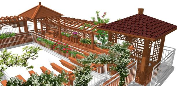 成都防腐木花架如何在屋顶花园中安装