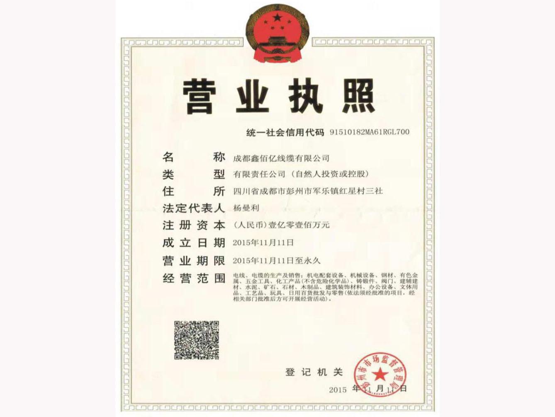 成都鑫佰亿线缆有限公司营业执照