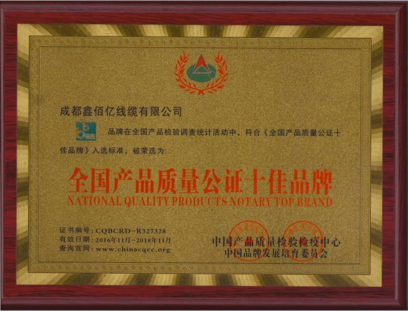四川特种电缆十佳品牌证书