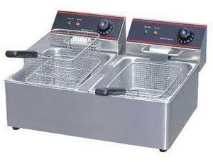 成都西餐设备-台式双缸双筛炸炉