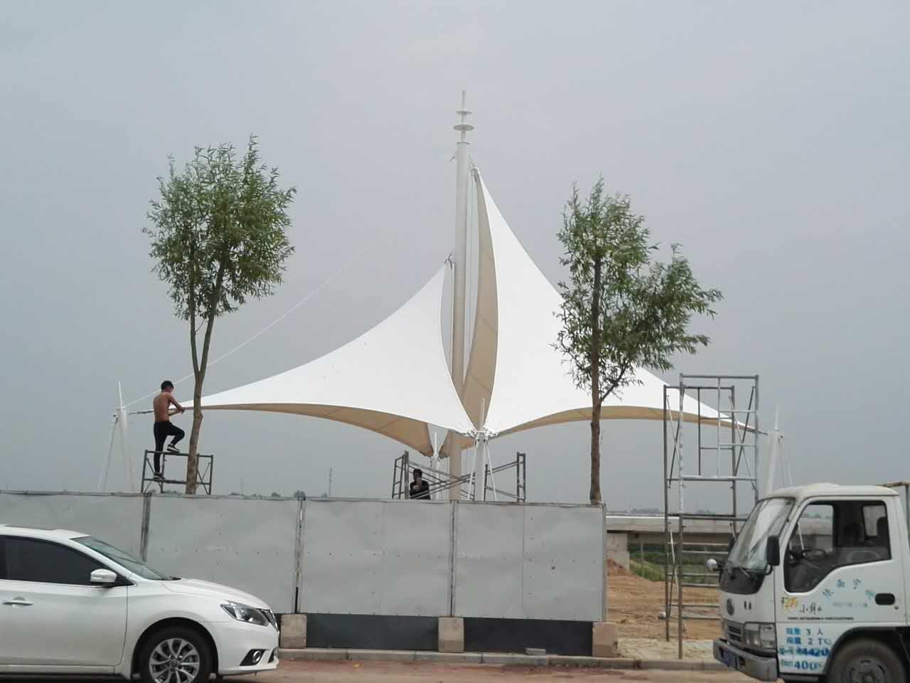 大荔同洲湖自行车赛道膜结构景观