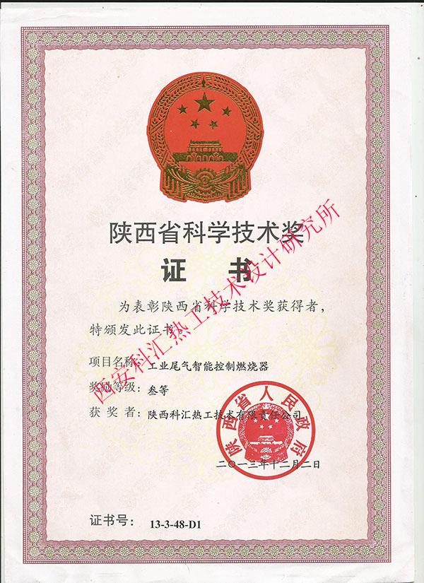 陕西省科学技术奖证书