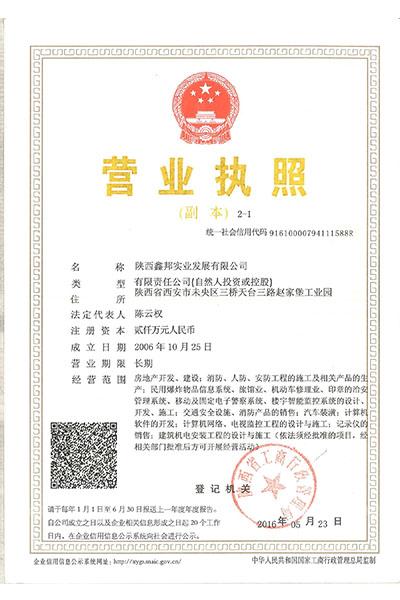 陕西鑫邦实业发展有限公司营业执照