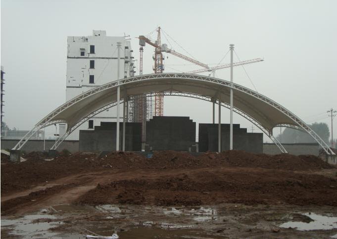 四川膜結構工程施工現場展示