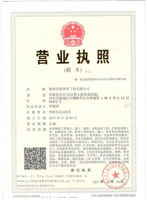 陕西星胜体育工程有限公司营业执照