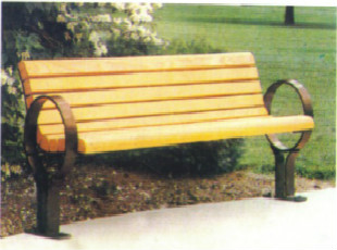 防腐木带靠背休闲椅