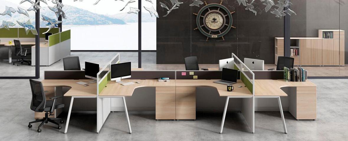 十字形四人办公桌