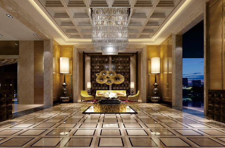 酒店大厅墙顶整装效果图
