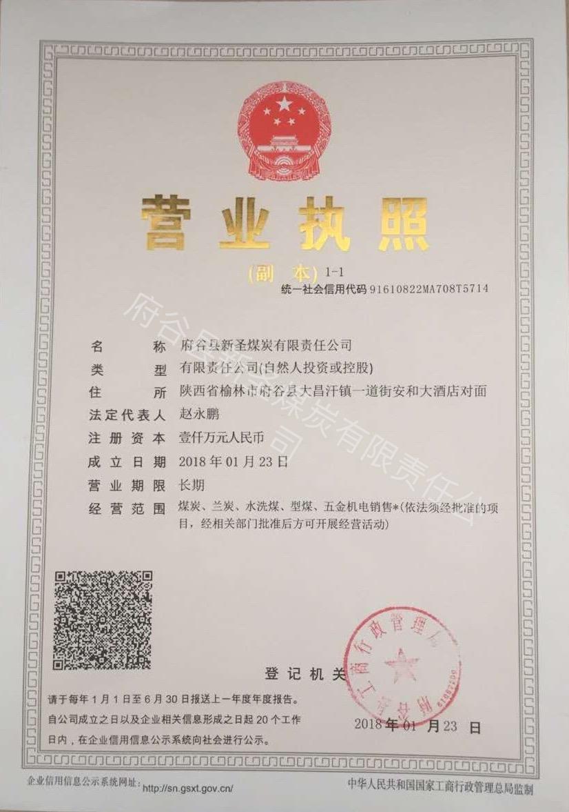 府谷县新圣煤炭有限责任公司营业执照