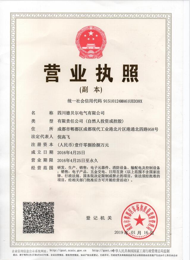 成都消防电源公司营业执照