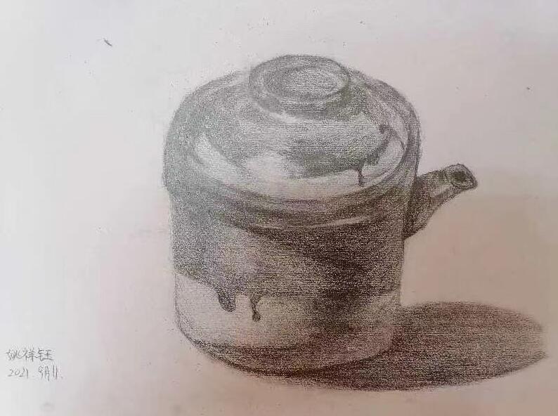 姚祥钰学生素描大茶缸美术培训作品展示