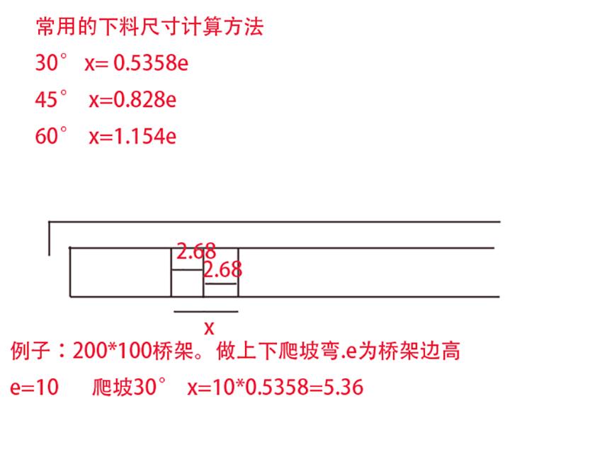桥架下料尺寸计算方法