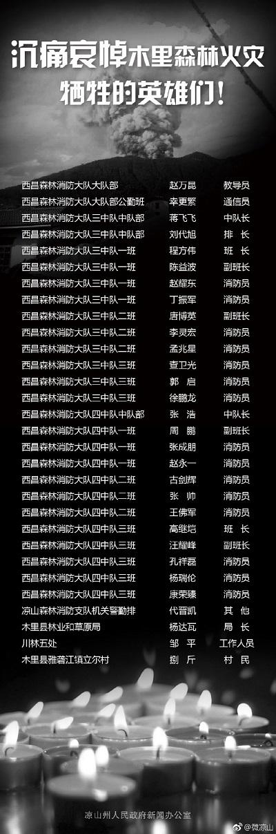 涼山救火逝世英雄名單