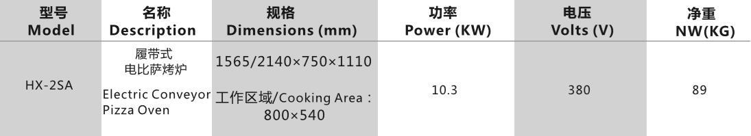 履带式电比萨烤炉参数表