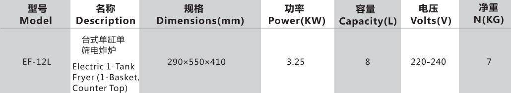 台式单缸单筛电炸炉参数