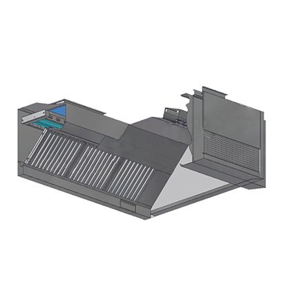 紫外线UV-C油网式烟罩带鲜风槽带风帘 (方型)