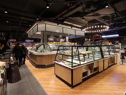 四川烘焙展示柜-钢木双面蛋糕柜