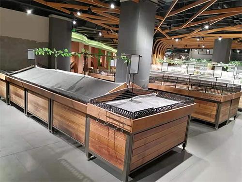四川蔬菜货架-实木单层蔬菜架