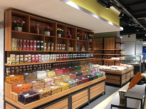 四川超市货架销售-钢木蜜饯靠墙柜