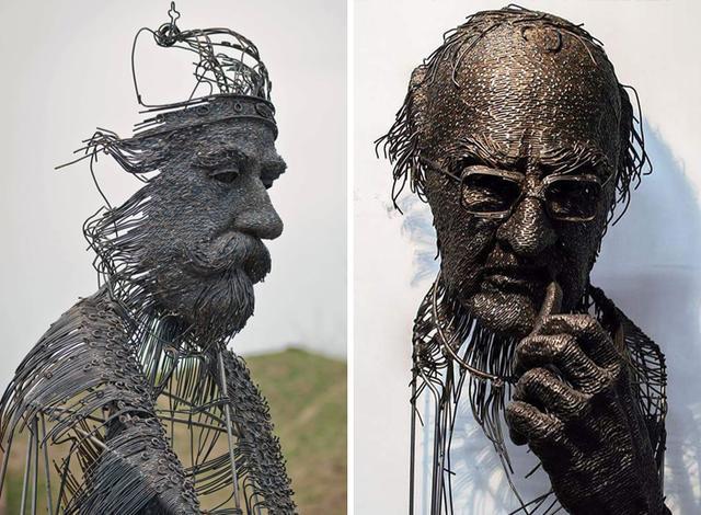 罗马尼亚艺术家用金属丝打造人物雕塑