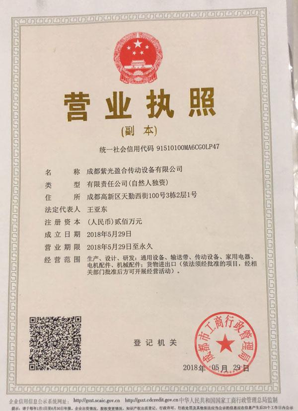 四川输送带厂家成都紫光盈合传动设备有限公司营业执照