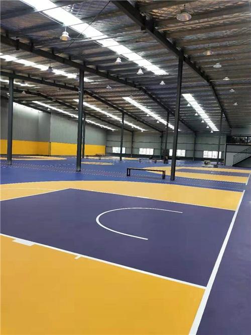 河南硅pu球場材料廠家與零點俱樂部籃球場湖人配色合作成功案例