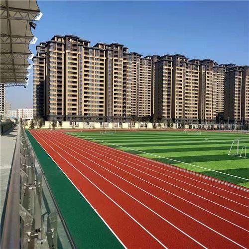 河南塑膠跑道廠家與南陽鎮平實驗中學的施工案例