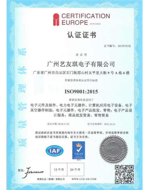 广州艺友琪认证证书