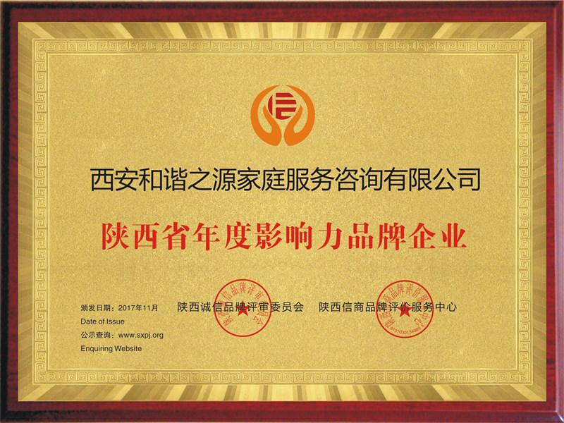 年度影响力品牌企业荣誉称号