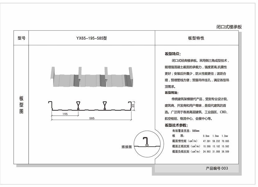 YX65--195-585型闭口楼承板