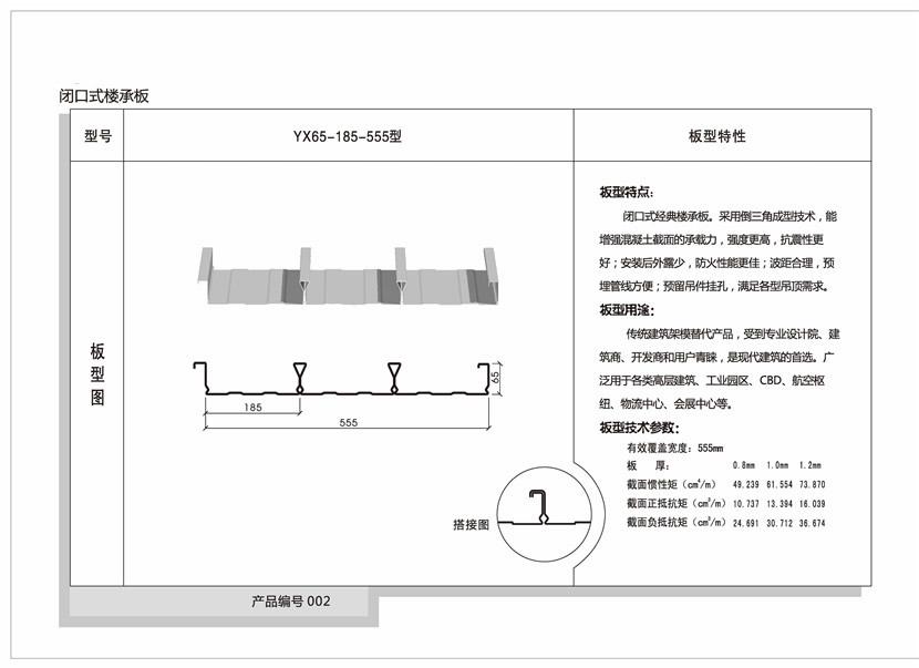 YX65-185-555型闭口楼承板