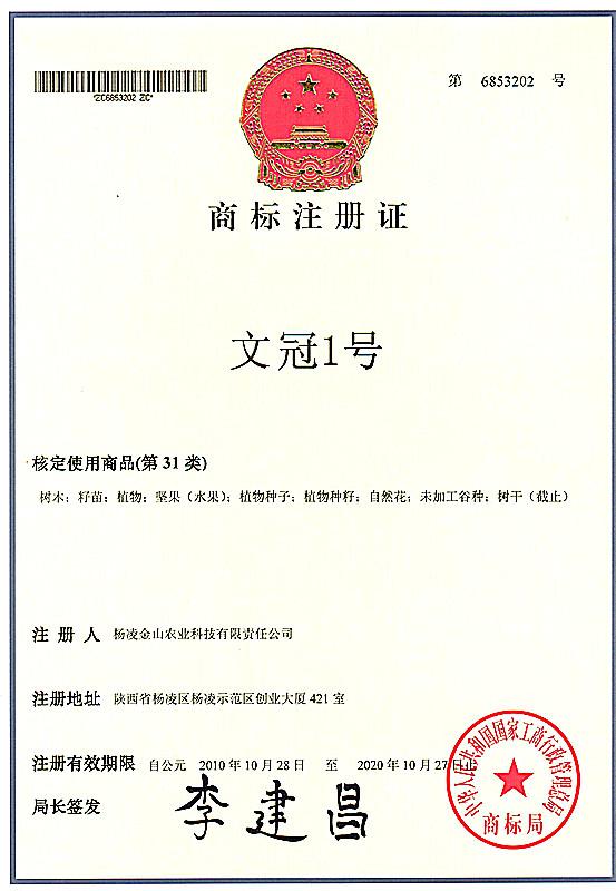 文冠1号商标注册证
