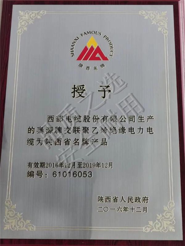 秦源牌交聯聚乙烯絕緣電力電纜為陝西省名牌產品