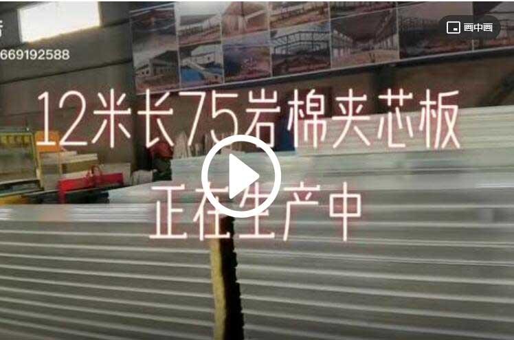 陕西腾彩钢钢构有限公司岩棉夹芯板生产中