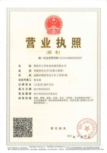 简阳市上坪农业发展有限公司营业执照