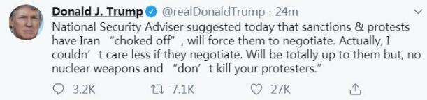 特朗普发推:伊朗是否愿意谈判 我一点都不在乎