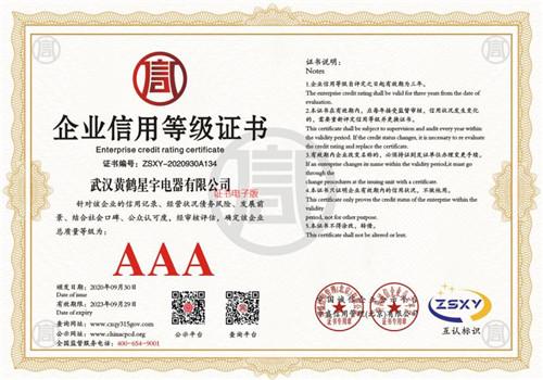 武汉黄鹤星宇电器有限公司-企业信用等级证书