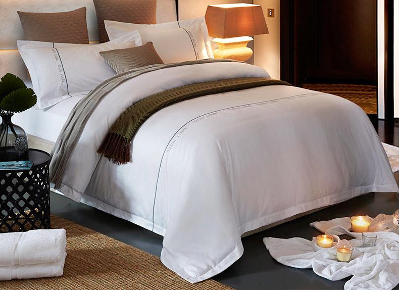 全棉四件套 纯棉被套床上用品 五星级酒店宾馆高 端LOGO订做床单被罩 KC012白色绣字床单款 1.8米