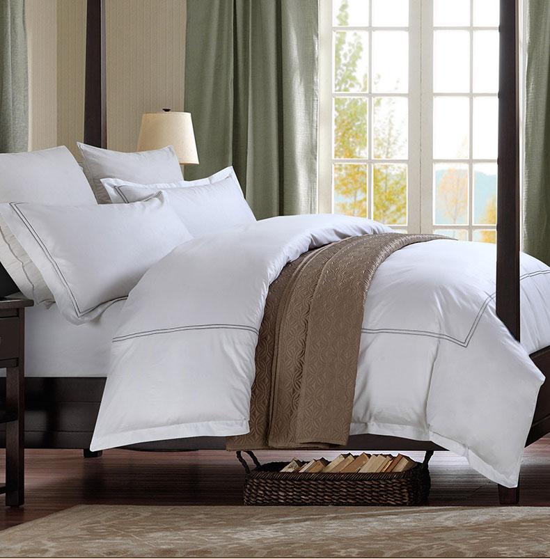 五星级酒店用品纯棉60s喷气贡缎绣花床上用品简约套件